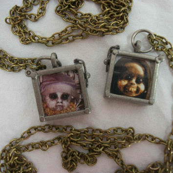 One of A Kind Creepy Doll Jewelry Pendant Glass Metal Scary Haunted Odd Funny Weird Zombie Macabre Scary Freaky Ghoulish