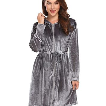 Dickin Women's Zip Robe Long Sleeve Hooded Bathrobe Sleepwear S-XXL