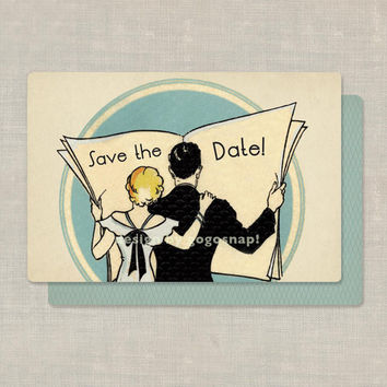 $90.00 Custom 100 Art Deco Save the Date Cards Wedding Invitations by GoGoSnap