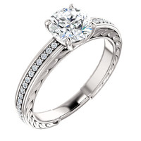 Solitaire with accents 1.76 ct. round diamonds wedding anniversary ring gold 14K