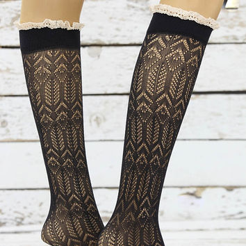 Soft Micro Fishnet Knee Highs Black lace socks sexy leg warmer girly boot socks boot cuffs women's accessory birthday gifts knee socks