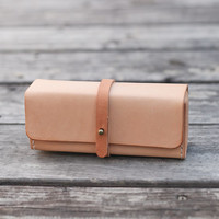 Nude color vegetable cow hide leather Pencil Case/Pen by BySen