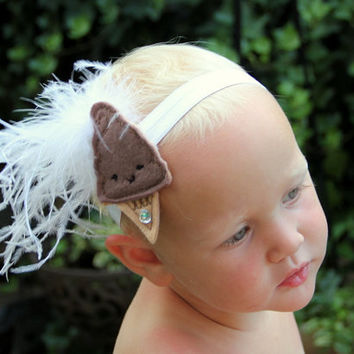 Sweet Little Treat ice cream flapper style 1920s feather headband chocolate brown & white, kawaii, baby, toddler, or girl, ice cream party