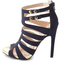 Qupid Strappy Caged Heels by Charlotte Russe - Navy