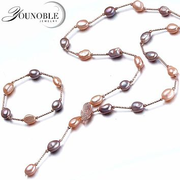 YouNoble Baroque bridal jewelry sets,boho wedding women jewelry set multicolor freshwater natural necklace bracelet best gift
