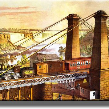 Old Steam Train Picture over Niagra Falls Picture Made on Acrylic Wall Art Decor Ready to Hang!.