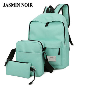 2017 Fashion Design Women Solid Backpack Girl high quality Canvas Zipper School Bag Lady Soft back Three Pieces Set For Travel