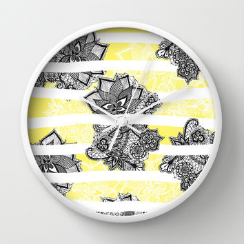 Modern black white henna paisley floral lace bright yellow Wall Clock by Girly Trend