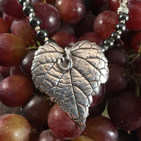 Nature Inspired Necklace - Silver Clay Jewelry Necklace - Handmade Jewelry - Hand Painted Leaf - Silver Metal Clay Jewelry - Silver Leaf