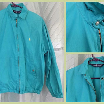 80s Teal Ralph Lauren Jacket, Cotton Zip Up Windbreaker Bomber Coat, Blue Unisex Spring Jacket - Mens or Womens Small