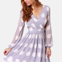 Polka Latte Dusty Lavender Polka Dot Dress