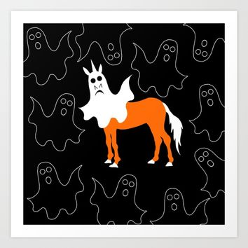 Boo Unicorn Art Print by That's So Unicorny
