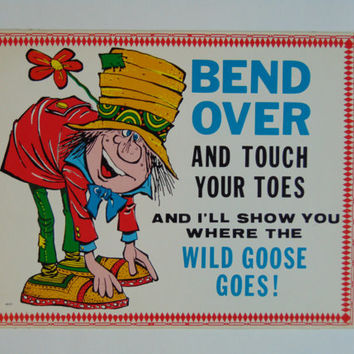 Vintage Bend Over and Touch Your Toes 6 x 9 cardboard novelty sign 60's United Card Company Smile Plaque