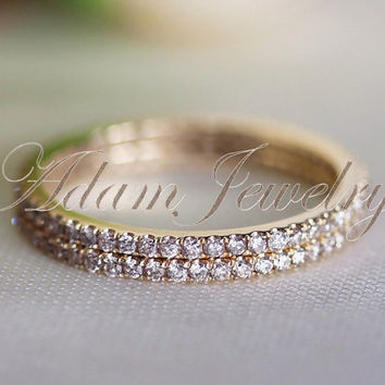 Thin Design VVS Diamond  Engagement Ring/ 14k Yellow Gold Wedding Ring/ Band  Matching Band/ Full Eternity Band/ Only One Ring