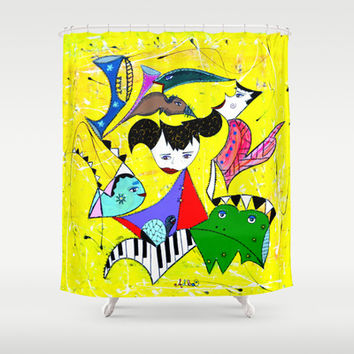THE FROG PRINCE Shower Curtain by Adka