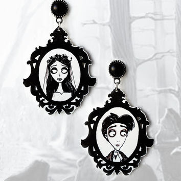 Gothic victorian stud earrings 'The Corpse Bride' goth tim burton nightmare before christmas zombie