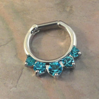 14 Gauge Aqua Blue Crystal Septum Ring Clicker Bull Ring Nose Piercing