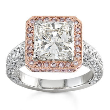 Ladies18kt diamond pave halo engagement ring with 1.00 ctw G-VS2 quality diamonds and 2ct Princess Cut White Sapphire