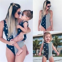 Stars stripes mommy and me baby daughter matching swimsuit
