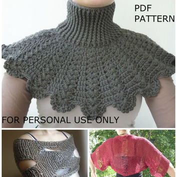 Crochet and knit PDF pattern / Crochet neckwarmer / knitting shrug / knitting scarf pattern / buy 3 pay for 2