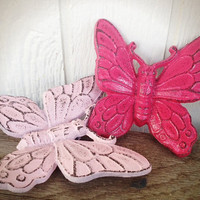 Powder & Hot Pink Shabby Chic Butterfly Wall Decor - Spring Hand Painted Cast Iron 3D Wall Art