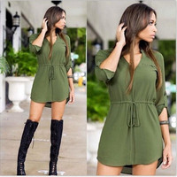 Summer Women Sexy V-neck Long Sleeve Drawstring Chiffon Mini Shift Dress