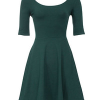 Dark Green 1/2 Sleeve Skater Dress