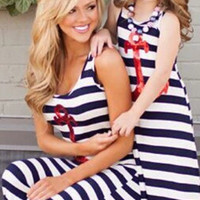 Mommy and Me Sequin Anchor Striped Summer Maxi Dress