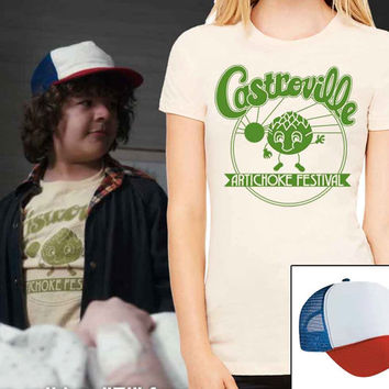 Castroville Artichoke Festival T-shirt and Dustin's Trucker Hat complete Halloween costume set Stranger Things inspired