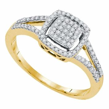 10kt Yellow Gold Women's Round Diamond Square Frame Cluster Split-shank Ring 1-4 Cttw - FREE Shipping (USA/CAN)