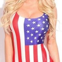 Red White Blue USA US American Flag Patriotic Bodysuit One Piece Sleeveless