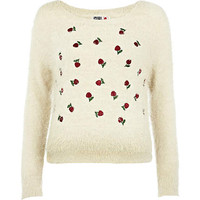 Cream Chelsea Girl cherry eyelash jumper