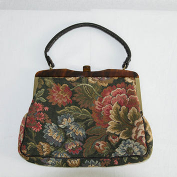Vintage 1950's Tapestry Handbag Tortoise Shell Frame Purse Bag
