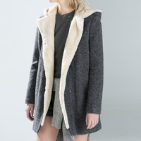 Short coat with furry interior
