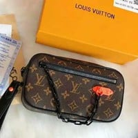 LV Louis Vuitton High Quality Fashion Women Monogram Leather Metal Chain Handbag Tote Purse