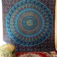 BLUE MANDALA FABRIC Elephant Wall Tapestry Boho Bedspread Throw Wall Hanging Bohemian Hippie Mandala Bed Bedding Ethnic Home Decor