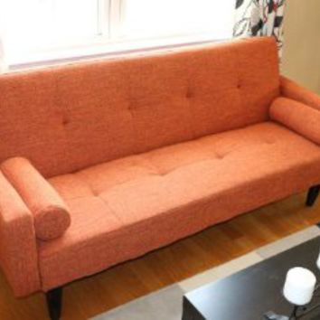 Rust Orange Convertible Sofa High Quailty High Density Futon Klik Klak Modern