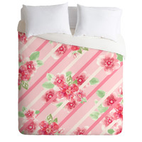 Lisa Argyropoulos Summer Blossoms Stripes Pink Duvet Cover