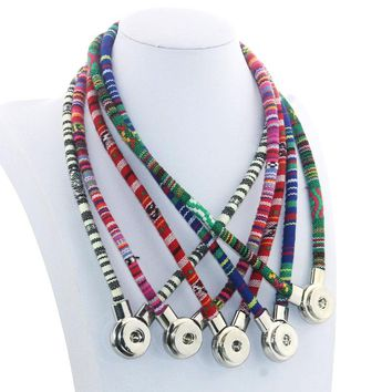 50 CM Leather Necklace Ginger Snap Jewelry Bohemia Multi Colorful Magnet Clasp 18mm Snap Button Pendant 6 Colors 9881