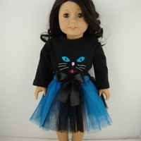 A Really Fun 2 Pc Outfit with Long Sleeve Black Leotard with Cat Face and a Blue and Black Tulle Skirt Designed for 18 Inch Doll Like the American Girl Dolls