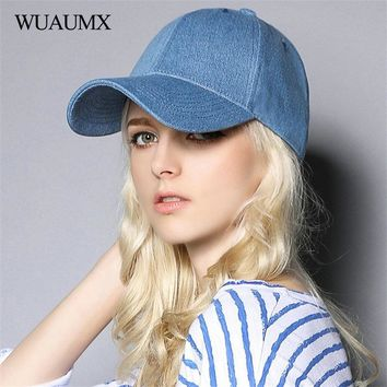 Trendy Winter Jacket Wuaumx Branded Unisex Solid Women's Baseball Caps Cotton Men's Cap Summer Sun Hat Visor Washed Bone Snapback Cap Blue casquette AT_92_12