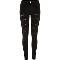 River Island Womens Black super ripped Molly jeggings