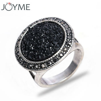 New Hot Black Broken Stone Accessories Rings For Women Party Antique Silver Plated Vintage Jewelry Live To Ride Engagement Ring