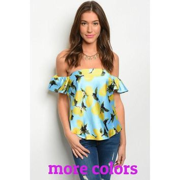 """When Life Gives You Lemons, Rock It"" Off Shoulder Top"