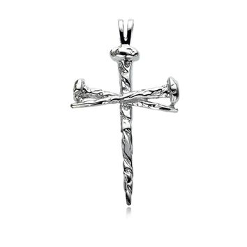 Sterling Silver Nail Cross Necklace, 18 Inch