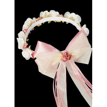 Dusty Rose & Ivory Floral Crown Wreath Handmade with Silk Flowers, Satin Ribbons & Bows (Girls)
