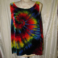 Hippie Tie Dye Shirt, unusual velvet top sleeveless peace sign psychedelic festival tank top unisex rainbow spiral funky love