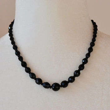 Vintage Beaded Necklace Black Faceted Glass Graduated Adjustable Made in Western Germany Mid Century 1950's // Vintage Costume Jewelry
