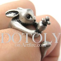 Miniature Bunny Rabbit Carrot Animal Wrap Ring Silver - Sizes 4 to 9 a