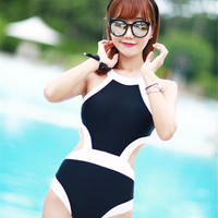2016 New Women Swimwear One Piece Swimsuit Sexy Halter Neck High Waist Monokinis Cut Out Black White Bathing Suit Beach Wear